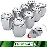 CAREApro ® Ventilkappen Auto mit Beschriftung (8er Set) im Bucket-Chrome-Look mit Dichtung - Intelligente Reifen Markierung - Rostfrei ABS-Kunststoff
