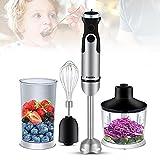 4-in-1-Design Edelstahl Stabmixer Saftmaschine Set 600ml Mixbecher 1200 Watt für die Zubereitung von Saucen Gemüse- und Frucht-Smoothies Salsa Proteinshakes Suppen und Babynahrung
