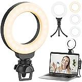 Ringlicht Laptop, Ruyilam Videokonferenz Licht Beleuchtungsset mit Clip&Stativ, Desktop 4' Selfie-Licht mit 3 Beleuchtungsmodi&11 Helligkeiten, dimmbar für Video-Streaming, Videoanruf, Meeting