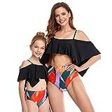 DINIGOFIN Mädchen zweiteiliger Badeanzug für Frauen mit hoher Taille, Bikini-Set für Mama und mich, Badeanzüge, für die Familie - - 5-6 Jahre