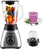 Elegant Life Standmixer Smoothie Maker mit 1.5L Kapazität Glas Schleifer, 3 Geschwindigkeiten, 2-in-1-Elektro-Entsafter-Mühle für Obst und Gemüse, Multifunktionaler Mixer mit Edelstahlklingen