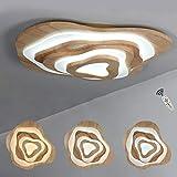 LED Deckenleuchte, Runde Holz Deckenlampe, 65 Watt, 5200 Lumen, Ø 80cm Stufenloses Dimmen mit Fernbedienung Holzlampe, Acryl-Schirm, Wohnzimmer Schlafzimmer Esszimmer Leuchte Deckenbeleuchtung