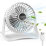 ISUDA Mini Leise Ventilator, 3 Geschwindigkeitsstufen Tischventilator mit 1.2m USB Kable, 360°Dreheinstellung Desktop Ventilator für Büro und Schlafzimmer
