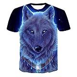 SSBZYES Herren T-Shirt Sommer Herren Rundhals Kurzarm T-Shirt Herren Großes T-Shirt Herrenmode Animal Print T-Shirt Wolf Herren Sommer Sweatshirt Pullover