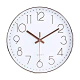 jomparis 30cm Modern Quartz Lautlos Wanduhr Schleichende Sekunde ohne Ticken Analoge Wanduhr (Rosegold) -MEHRWEG