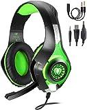 TR Turn Raise Gaming Headset mit Mikrofon für PC/ PS4/ Xbox one/Playstation 4 (Grün)