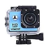 VEMONT 1080p 12MP Action Kamera Full HD 2,0 Zoll Bildschirm 30m/98 Fuß wasserdichte Sports Kamera mit Zubehör Kits für Fahrrad Motorrad Tauchen Schwimmen usw