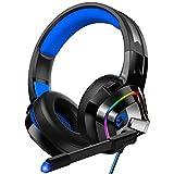 ZIUMIER Z66 Blau Gaming Headset für PS4 PS5 PC Xbox One Laptop,Gamer Kopfhörer mit Noise Cancelling Mikrofon, Buntes RGB Licht, Bass 3.5mm Surround Sound 50MM Treiber