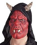 costumebakery - Kostüm Accessoires Zubehör Latex Teufel Maske mit Reißzähnen Ziegenbock-Hörnern Kapuze, Mask Devil with Fangs and Horns Hood, perfekt für Halloween Karneval und Fasching, Rot
