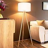 Jago® Tripod Stehlampe - EEK A++ bis E, LED, H 145cm, Ø45cm, E27, Stativ aus Holz, Stoffschirm, Skandinavischen Stil - Dreibein Stehleuchte, Wohnzimmerlampe, Standleuchte für Wohnzimmer, S