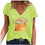 T-Shirt Frauen Casual Fashion Loose V-Ausschnitt Bedruckte kurzärmelige Tops (4XL,1Gelb)