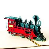 SHENGDASI 3 Stück 3D Pop Up Grußkarte, Retro Zug Geburtstagskarte Osterkarten-Jubiläumskarte Thanksgiving-Karte