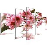 Bilder Blumen Sakura 5 Teilig Bild auf Vlies Leinwand Deko Wohnzimmer Kirschbaum Rosa Weiss 200252a