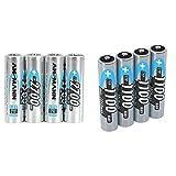 ANSMANN Akku AA 2700mAh NiMH 1,2V - Mignon AA Batterien wiederaufladbar (4 Stück) & Akku AAA Typ 1100 mAh (min. 1050 mAh) NiMH 1,2 V (4 Stück) - Micro AAA Batterien wiederaufladbar