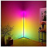LED Stehlampe mit Fernbedienung, 20W Dimmbare Stehlampe für Modernes Wohnzimmer Schlafzimmer, RGB Farbe Wechselnde Atmosphäre Lichtsäule, RGB Helligkeit Kontinuierlich Ecke Stehlampe (Rechter Winkel)