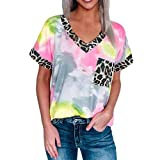 JINXL Damen Sommer Tuniken T-Shirts Tie Dye V-Ausschnitt Leopardenmuster Kurzarm Shirts mit Taschen Frauen Farbverlauf Hemd Bluse Tops Frauen Frühling Übergröße Mode Farbblock Hemdbluse Oberteile
