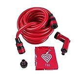 FITT YOYO GO Flexibler Gartenschlauch für professionelle Bewässerung mit Tasche für den Transport, Multifunktions-Wasserpistole, Rot, 30 m