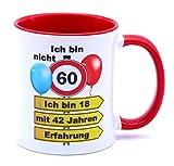 Ich bin nicht 60 Ich bin 18 mit 42 Jahren Erfahrung Tasse Becher Kaffeebecher Kaffeetasse Geschenk zum Geburtstag Geburtstagsgeschenk für Frauen Männer Mann Frau Geburtstagsdeko Deko Mama Papa Opa Oma