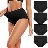 Molasus Women's Soft Cotton Underwear Briefs High Waisted Postpartum Panties Ladies Full Coverage Plus Size Underpants Black,Size 9