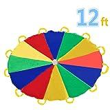 Sonyabecca 3,5m Schwungtuch für Kinder und Familie,Bunt Fallschirm Parachutes Spielzeug (6-12 Kinder)
