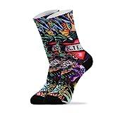 Lässige Socken für Männer und Frauen – Grunge Tattoo Totenkopf Knöchel Socken Neuheit Athletic Socken 1 Paar Gr. 42, multi
