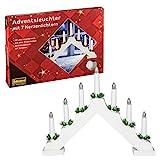 Idena 8582067 - Adventsleuchter aus weiß lackiertem Holz mit 7 warmweißen Kerzenlichtern, mit Ersatzlampe, Anschlusskabel mit Schalter, ca. 40 x 30 cm groß, Dekoration für Weihnachten, Advent