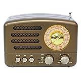 KDLK Bluetooth-tragbares Radio Tragbarer BT-Lautsprecher Retro-Radio Vintage-Radio-Unterstützung FM USB Small (Color : Coffee)