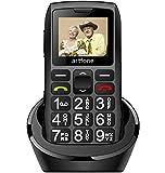artfone Seniorenhandy ohne Vertrag | Dual SIM Handy mit Notruftaste | Rentner Handy große Tasten | 1400 mAh Akku Lange Standby-Zeit | 1,77 Zoll Farbdisplay | 2G GSM Großtastenhandy mit Ladestation