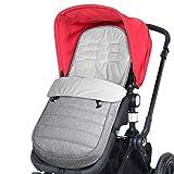 WD&CD Fußsäcke für Kinderwagen, Baby WinterFußsack für Kinderwagen mit Fleece Gefüttert, Wasserdicht und Winddicht für Babyschale, Sportwagen, Buggys - Grau