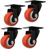 XIEJING Bewegen von Caster Rädern Ture Caster Swivel Castor Räder mit Bremsen Deckplatte 50 / 40mm 4 STÜCKE Lastkapazität 240 kg Orange Größe: 50mm Hochleistungsrollen für Ture universalrad