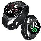 TOUGUE Smartwatch für Damen und Herren, Smartwatch mit Blutdruck-Kontrolle, Sport, Schlaf- und Aktivitätsmonitor, Sauerstoff, Schrittzähler, kompatibel mit Android und iOS. Schwarz