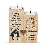 QKFON Teelichthalter mit Kerze, To My Mom – I Love You Forever – Kerzenhalter mit Kerze Geschenk für Mutter Geburtstag Muttertag (To My Mom)