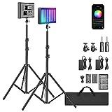 Neewer 2er Pack P280 RGB LED Videolicht Batterie Set mit APP-Steuerung - CRI97+/3200-5600K/360° Vollfarbe/9 anwendbare Szenen, LED-Paneel-Licht mit abnehmbarem Diffusor für YouTube, Außenfotografie