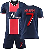 Fußball-Uniform Fun Paris Germ/Ain Kurzarm # 7mbapé # 10neymar T-Shirt Sommer Jersey Unisex Sporttops mit Shorts Socke Fußball Gedenk-T-Shirt (Farbe: 2, Größe: XXL)
