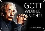 Geschenkeparadies 24 Blechschild 20x30cm Albert Einstein Gott würfelt Nicht