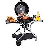 Gifort Holzkohlegrill, Outdoor BBQ Smoker Standgrill inkl. 2 Ablagefach, Ascheschale & Einstellbare Belüftung, Kugel- Grillwagen für Gartenparty Camping Barbecue
