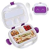HOMESPON Isolierte Lunchbox für Kinder, Bento-Box, Lunchbox mit Gabel, für Damen, Kinder für die Schule, Arbeit, Violett