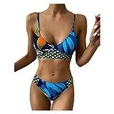 Snakell Tropical Leaves Schmetterling Bedruckter Bikini Set Badeanzug mit hohem Ausschnitt für Frauen Zweiteiliger Badeanzug Badebekleidung