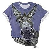 Kanpola Esel Tier Gedruckt Tshirt Damen Sommer Kurzarm Lustig T-Shirts Rundhals Blusen Frauen Casual 3D Print Shirt