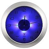 Soldela Wanduhr, beleuchtet, Funk, blaue LEDs, 30 cm