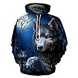 3D Wolf Print Herren Hoodie Hip Hop Casualsweatshirt