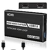 Game Capture Card, 4K USB 3.0 HDMI Capture Card mit 1080P 60FPS HDMI-Loop-Out Live-Streaming für PS4, Xbox One&Xbox 360 und Mehr