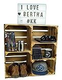 großes Obstkistenregal Bertha geflammt 55x55x30cm Schuhregal Hängeregal Ablageregal Kistenregal mit Zwischnbrett/Mittelbrett