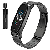 AHANGA für Xiaomi Mi Band 5 Armband, Metall MiBand 5 Ersatzband mit Entfernungswerkzeug Ersatzarmband Edelstahl Replacement Wrist Xiao Mi Fit Smart Band Watch Strap Fitnessarmband Uhrenarmb