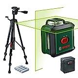 Bosch Kreuzlinienlaser UniversalLevel 360 Set (Horizontale 360°-Laserlinie + vertikale Laserlinie, grüner Laser, 4x AA-Batterien, mit Stativ, im Karton)