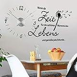 tjapalo® v3 Wanduhr Küche Uhr mit Uhrwerk Wandtattoo nimm dir Zeit für die schönen Momente wandtattoo Wohnzimmer spruch zitate, Größe: B120xH58cm, Schw