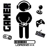 OOTSR Boy Gamer Wandtattoo, Wandaufkleber, Gamer Controller Wandsticker, Wanddeko Aufkleber für Jungen Schlafzimmer Wohnzimmer Home Playroom Hintergrund Dek