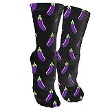 Herren/Damen Socken mit Aubergine-Muster, für empfindliche Füße, weite Passform, Sportsocken aus Baumwolle