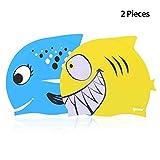 ipow 2 Stück Kinder Badekappe Badehaube Bademütze aus ungiftigem Silikon rutschfest, Wasserdicht, Haarpflege für Kinder und Jugendliche, Fisch blau und Hai Gelb