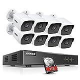 ANNKE 8CH 5MP DVR-Videoüberwachungs Sets Überwachungskamera außen aussen mit 8X 5MP Wetterfest IP67 IP Kamera und 2TB HDD H.265+ DVR HDMI & VGA Ausgang,30M EXIR Nachtsicht,Fernzugriff,Bewegungsmelder